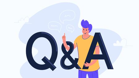 Question and answer concept vector illustration of happy man standing near letters Q and A