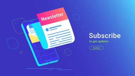 Newsletter subcription online in mobile app Illustration