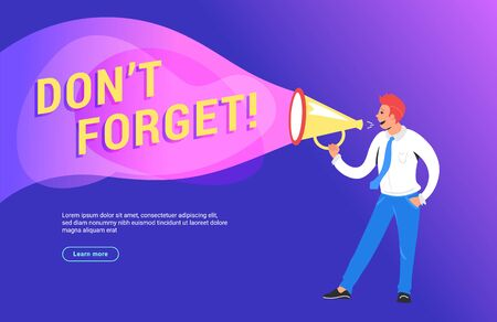Do not forget concept vector illustration of happy manager shouting on megaphone
