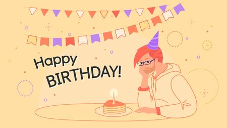 Happy birthday upset man sitting alone with birthday cake and boring Illustration