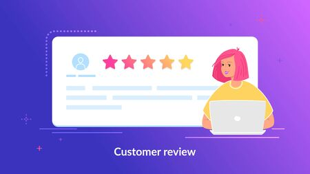 Customer review and user testimonials fulfilled form with five stars Illustration