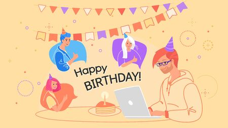 Happy birthday celebration online via internet conference Illustration