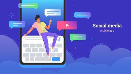 People using social media concept vector illustration