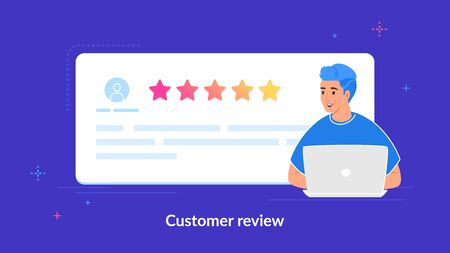 Customer review and user testimonials fulfilled form. Flat teenage man using laptop to leave comment and rate a service or goods. Customer feedback and rating 5 stars template on purple background