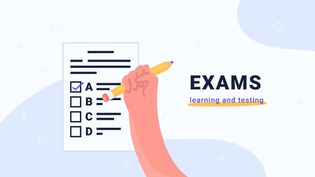 Exams learning and testing. Flat vector modern illustration of human hand holds yellow pencil to pass exam