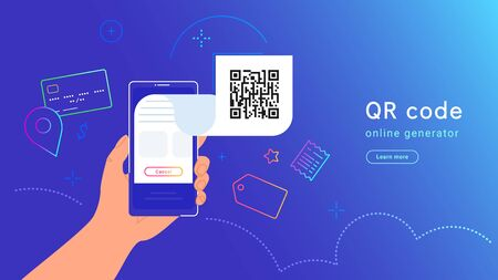 QR code and payment by credit card, shopping and billing