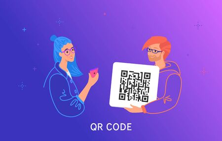QR code scanning by smartphone. Concept vector illustration of smiling teenage friends holding a card with qr-coge and scanning it Illustration