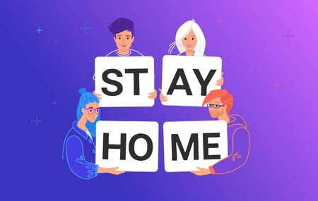 Stay home vector illustration of smiling teenage friends holding letters to prevent coronavirus spreading Illustration