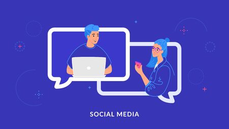 Young couple chatting and texting together in social media using laptop and smartphone Vector Illustratie