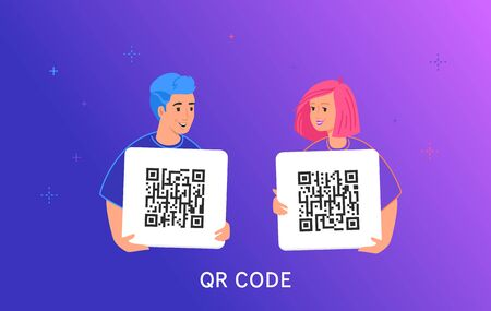 QR code scanning by smartphone. Gradient vector illustration of smiling teenage friends holding a cards with generated qr-codes for quick payment, shopping, billing online and identification.