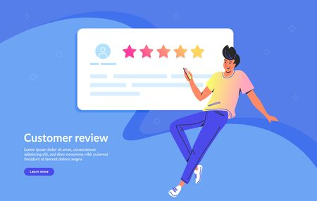 Customer review and user testimonials fulfilled form. Flat teenage man using smartphone to leave comment and rate a service or goods. Customer feedback and rating 5 stars template on blue background