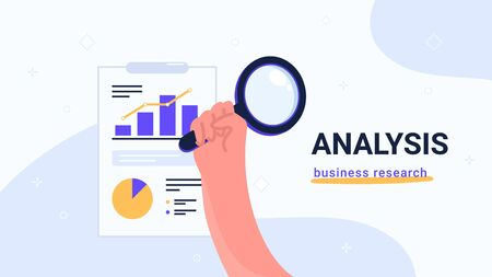Report analysis and business research. Flat vector modern illustration of human hand holds yellow magnifier to inspect