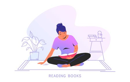 Reading books at home. Flat vector illustration of cute smiling woman sitting alone on the floor and reading a book at home. Cozy outlined interior isolated on white background with copy space
