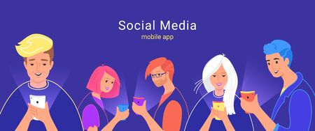 People using social media messenger for chatting, reading news and watching video online. Concept vector illustration of four teenagers using smartphone mobile app for texting to friends and community