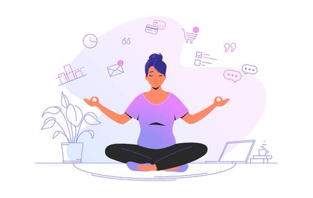 Working and meditating at home. Flat line vector illustration of cute woman sitting at home in lotus pose and concentrating before working. Time management concept design isolated on white background Stock Illustration - 147237629
