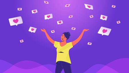 Social media likes and hearts flying down in clouds. Gradient vector concept illustration of happy woman standing alone and getting hands up as winner and flying down speech bubbles on social media