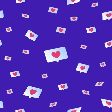Social media likes and hearts flying down seamless pattern. Flat vector concept illustration of flying speech bubbles with hearts on social media and networks. Upvote symbols on blue background