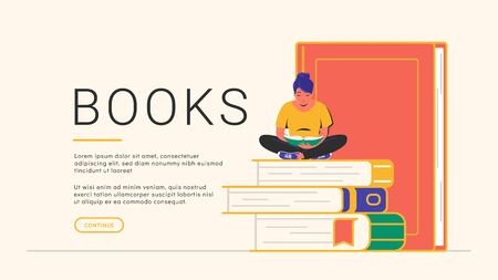 Reading books concept banner. Flat vector illustration of cute smiling woman sitting alone on some books and reading. Cozy outlined library banner design on white background with copy space Illustration