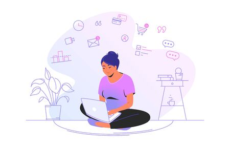 Working online with laptop at home. Flat line vector illustration of cute woman sitting at home in lotus pose with laptop and working remotely. Internet marketing concept isolated on white background Illustration