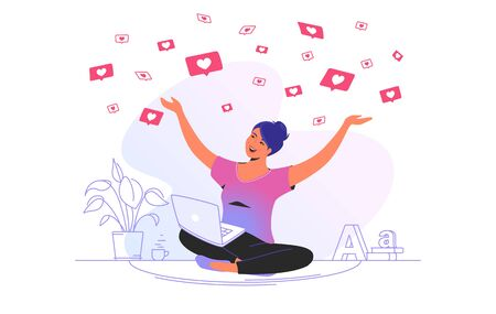 Social media likes and hearts falling on smiling woman. Gradient vector concept illustration of happy girl sitting at home and getting hands up as winner and flying speech bubbles on social media