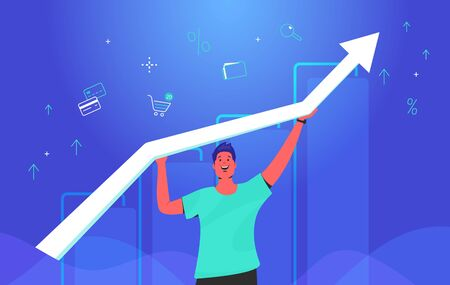Happy man holding white arrow which growing up. Concept gradient vector illustration of a guy taking growing graph with financial ans investing symbols of credit cards, shop cart, business folder Illustration