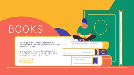 Reading books concept banner. Flat vector illustration of cute smiling woman sitting alone on some books and reading. Creative outlined library banner design for education and courses with copy space