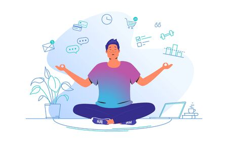 Working and meditating at home. Flat line vector illustration of cute man sitting at home in lotus pose and concentrating before working. Time management concept design isolated on white background