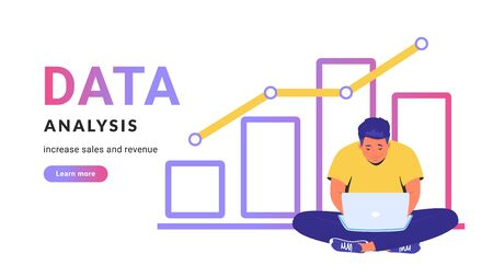 Data analysis for increasing sales and revenue. Flat line vector illustration of cute man sitting in lotus pose with laptop and working with graph. Analytics concept isolated on white background Illustration