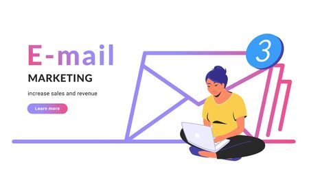 E-mail marketing for increasing sales and revenue. Flat line vector illustration of cute woman sitting alone in lotus pose with laptop and working remotely. Three envelopes icon on white background