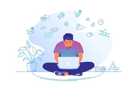 Working online with laptop at home. Flat line vector illustration of cute man sitting at home in lotus pose with laptop and working remotely. Internet marketing concept isolated on white background Illustration