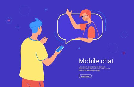Social media mobile chat and communication. Concept flat vector illustration of teenage man using mobile smartphone witn messenger app for texting his friend or doing video call. Illustration