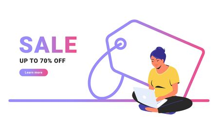 Sale up to 70 off creative promo banner. Flat line vector illustration of cute woman sitting alone in lotus pose with laptop and shopping online. Price tag outlined icon on white background