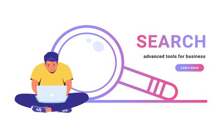 Search - advanced tools for business. Flat line vector illustration of cute man sitting alone in lotus pose with laptop and working online. Simple magnifier outlined icon on white background