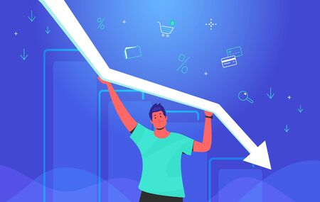 Upset man holding white arrow which falling down. Concept gradient vector illustration of a guy taking decreasing graph with financial ans investing symbols of credit cards, shop cart, business folder Illustration