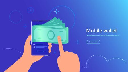 Mobile wallet and money withdrawal wirelessly and easy. Bright vector illustration of human hand holds smartphone and getting cash from e-wallet of his banking account
