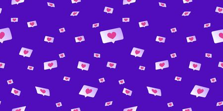 Social media likes and hearts flying down seamless pattern. Flat vector concept illustration of flying speech bubbles with hearts on social media and networks. Upvote symbols on purple background