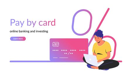 Pay by card for online banking and investing creative banner. Flat line vector illustration of woman sitting alone in lotus pose with laptop and credit card. Bank interest icon on white background Standard-Bild - 149361842