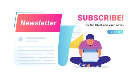 Newsletter subcription for the latest news and offers. Vector illustration of cute man sitting alone in lotus pose with laptop and reading new monthly letter flying forward for staying up-to-date Illustration