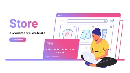 Online store e-commerce website banner. Flat line vector illustration of cute woman sitting alone in lotus pose with laptop and shopping online. Credit card and web page line icon on white background Illustration