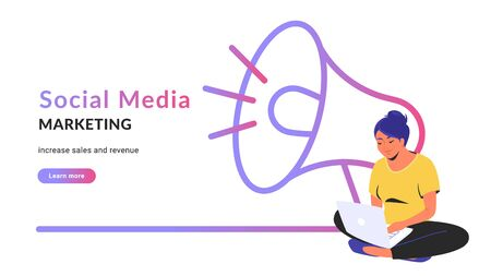 Social media marketing creative promo banner. Flat line vector illustration of cute woman sitting alone in lotus pose with laptop and working online. Megaphone outlined icon on white background