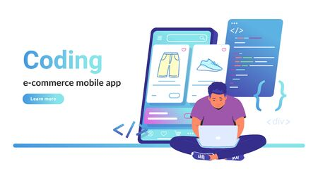 Coding e-commerce mobile app for online store. Flat vector illustration of cute man sitting with laptop and working with css script and preview on smartphone behind. Application developement process Illustration