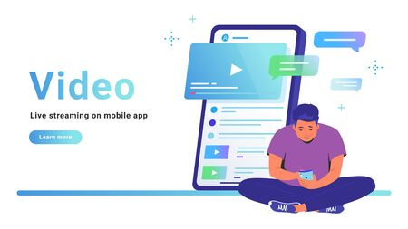 Video and live streaming on mobile app. Flat line vector illustration of cute man sitting alone in lotus pose with smartphone and watching video online. Smartphone with comments on white background Illustration