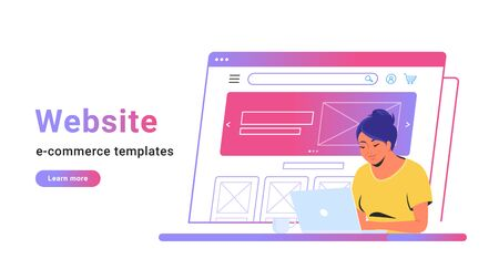 Website e-commerce template to create electronic store online. Creative vector illustration of cute woman working with laptop, building her own website for selling goods or personal site with banner. Illustration