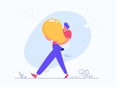Young man carrying heavy yellow bulb. Flat modern vector illustration of burden of creative solutions, brainstorm and thinking. Casual design of people generating an idea lamp on white background