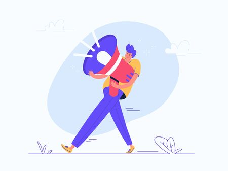 Young man carrying heavy red megaphone. Flat modern vector illustration of burden of social media marketing and network announcements. Casual design of people with loudspeaker on white background Illustration