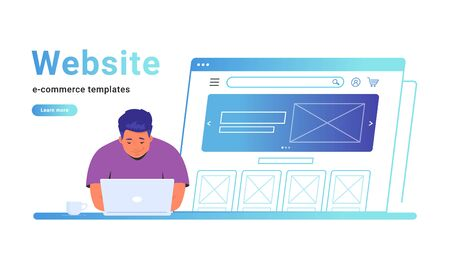 Website e-commerce template to create an electronic store online. Creative vector illustration of cute man working with laptop, building her own website for selling goods or personal site with banner.