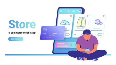Online store e-commerce mobile app. Flat line vector illustration of cute man sitting alone in lotus pose with smartphone and shopping online. Credit card and shop items line icons on white background