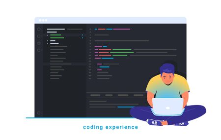 Coding experience and software development. Flat line vector illustration of cute man sitting in lotus pose with laptop and working. Abstract css script language on screen isolated on white background