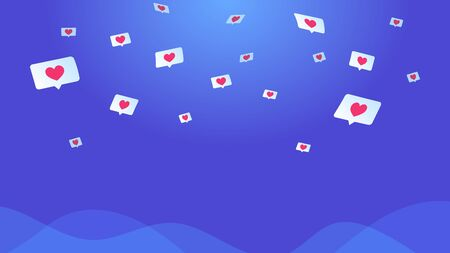 Social media speech bubbles with hearts. Concept vector illustration of flying in clouds symbols of hearts in bubbles for social media and dating app. Gradient background for promotion and networks Standard-Bild - 149583832