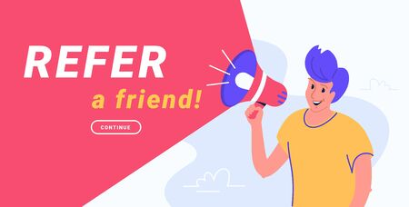 Refer a friend and audience announcement on loudspeaker. Flat line vector illustration of cute man standing and shouting with red megaphone to invite new clients. Notification or join alert red banner